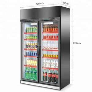Upright Showcase Fridge Cooler of 2 door glass vertical freezer for soft  drink beer pepsi cola
