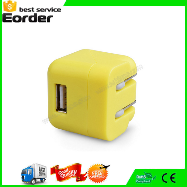 DC 5V 1A Dice Case Travel Charger Single USB Remote Phone Charger For Phone