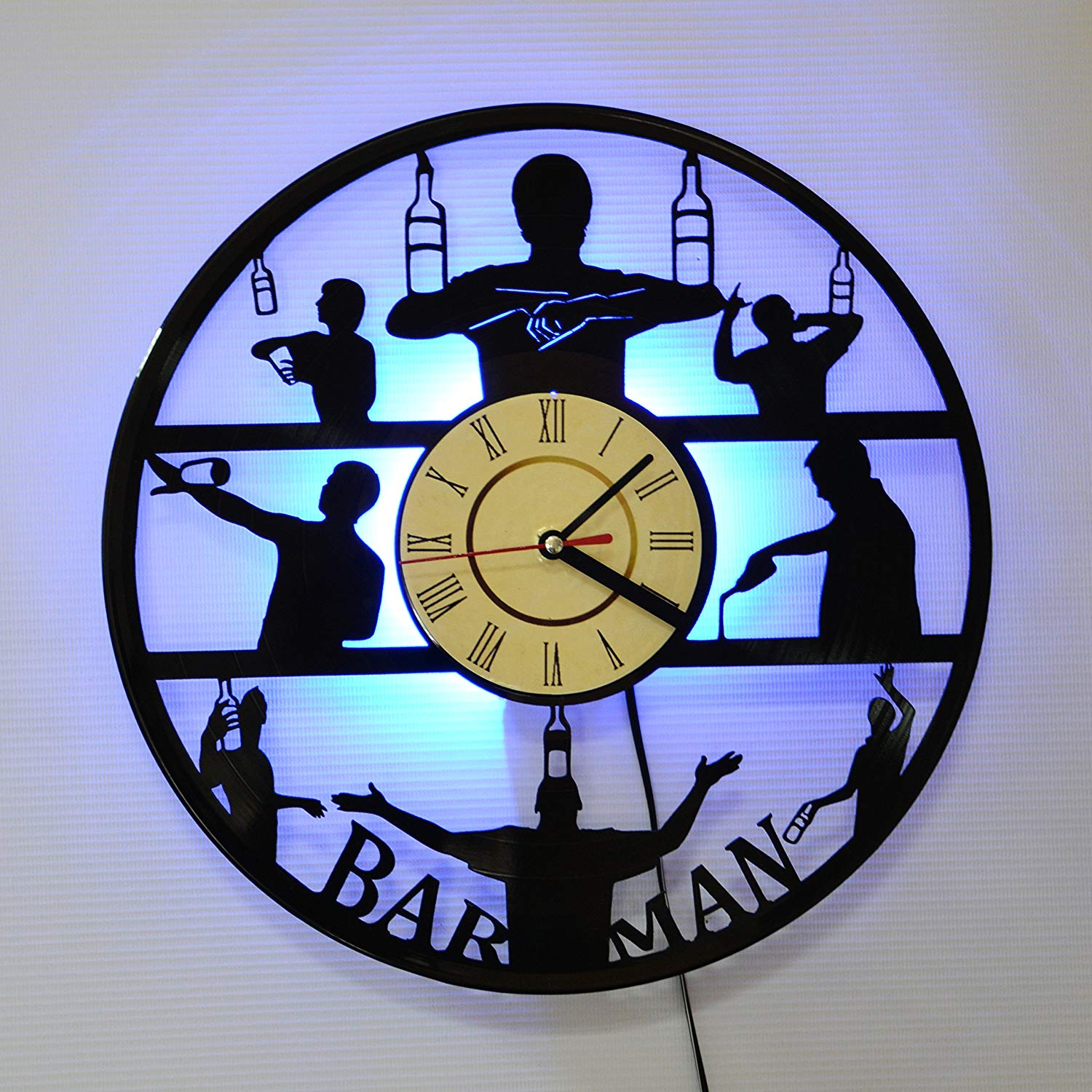 Barmen LED Backlight Vinyl Wall Clock Night Color Change Atmosphere Light Lamp Creative Classic Cool Living Room Interior Decor Led Time Clock With Color Blue Light