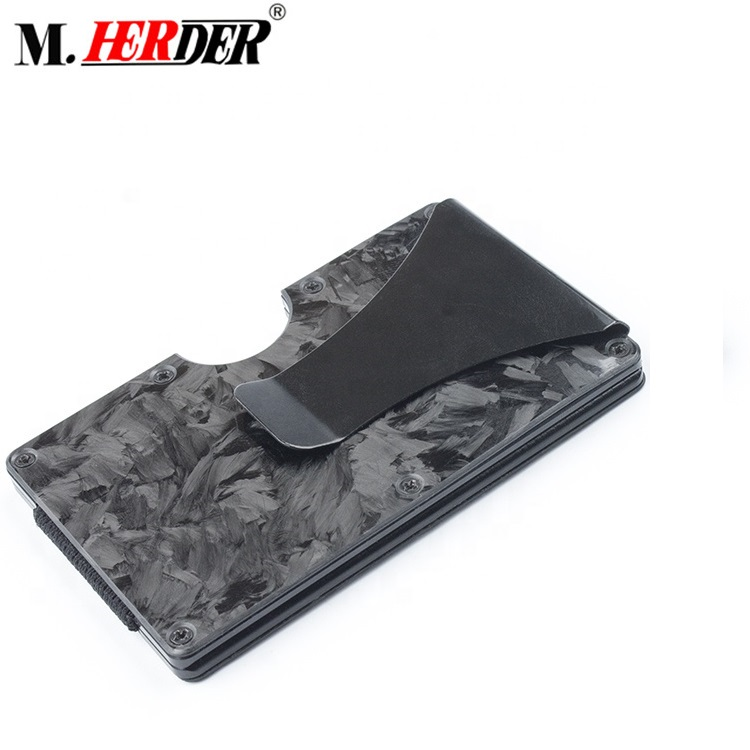 Carbon Fiber Credit Card Holder RFID 블로킹 안티 Scan Metal 지갑 Frame 돈 Cash Clip
