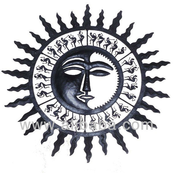 Wall Hanging Half Sun Face 3 Buy Metal Handicraft Product On