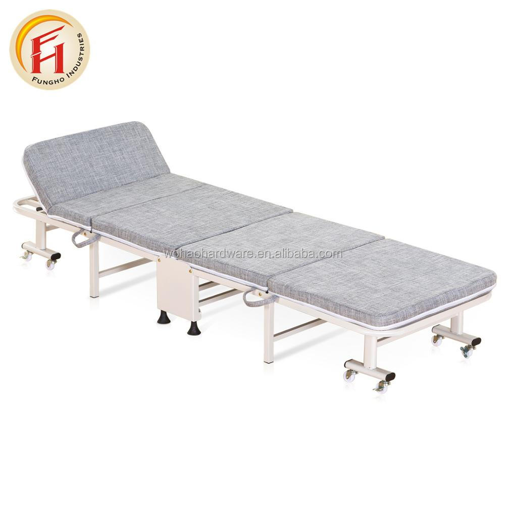 - Fabric Cover Metal Folding Bed Single Upholstered Bed/office Extra