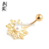 Gold Plated Sunflower with Pearl Navel Belly Button Ring