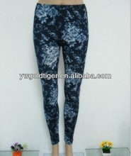 China wholesale Fashion Clothes Hot Women Blue and White Porcelain Flower Print Girls Leggings