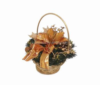 Alami Kayu Dihiasi Karangan Bunga Natal Keranjang Bunga Yang Indah
