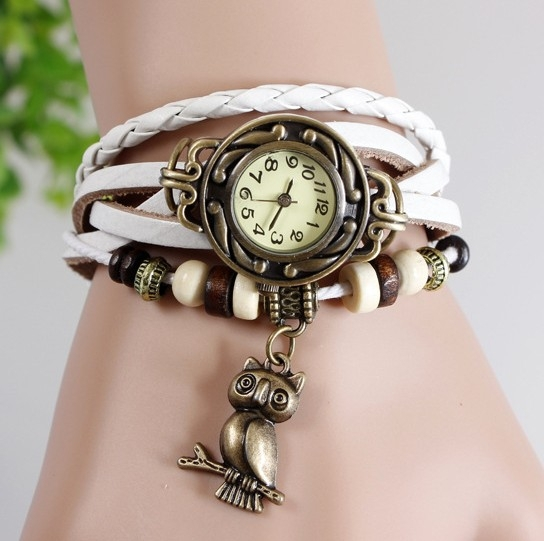 High Quality Genuine Braid Leather Women Vintage Bracelet Bangle Women Lady wrist watch owl adornment