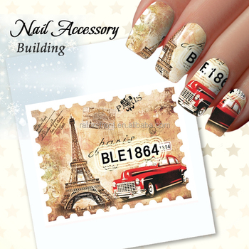 Postage Stamp 3d Water Transfer Nails Sticker Decals Beauty Eiffel