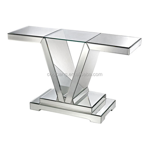 Top quality luxury glass top sofa cheap modern console table