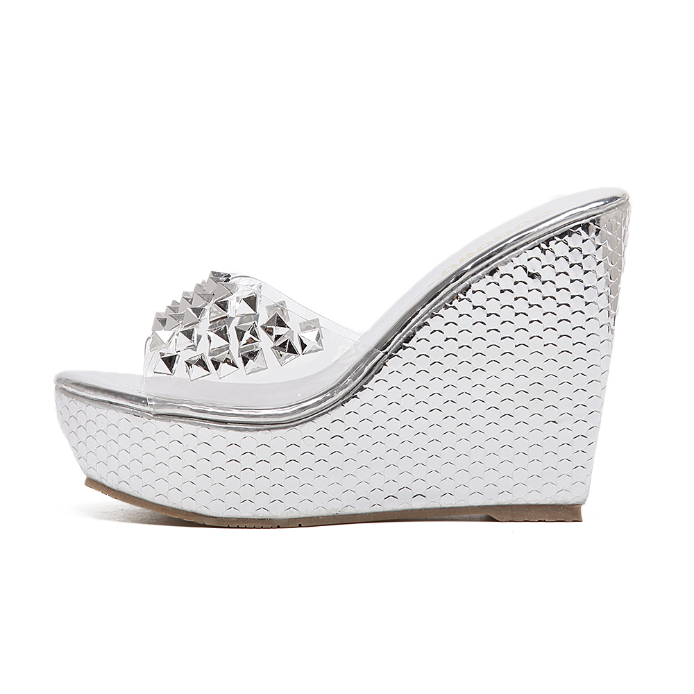 bc2d15269f7 rivets platform sandals slides shoes jelly pvc women summer high wedges  slippers