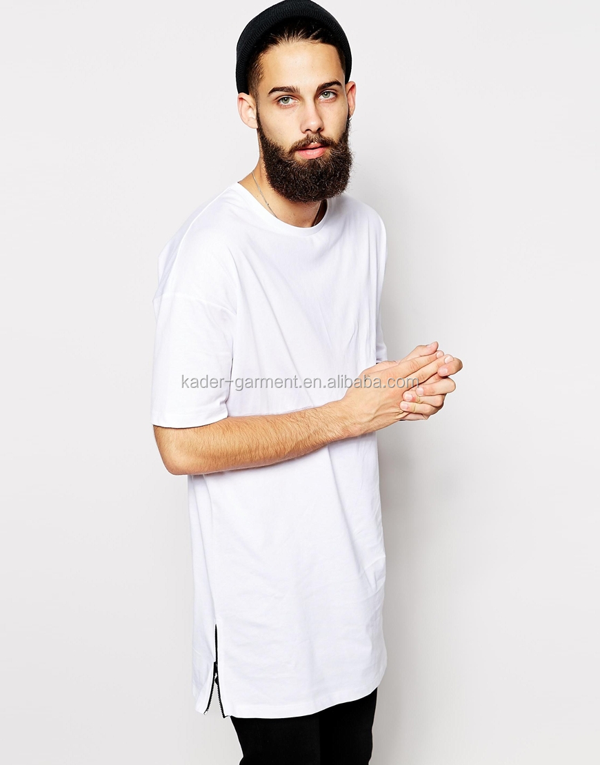 1d898ae5281f 100% cotton blank white loose fit longline man t-shirt with side zippers