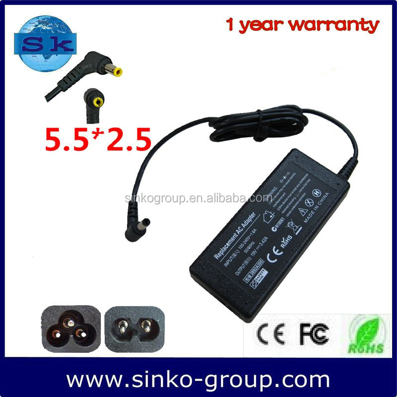 notebook parts adapter power supply For Dell 65W 19V 3.42A with 5.5*2.5
