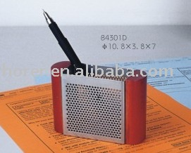 wood+metal mesh pencil holder, office supply, stationery