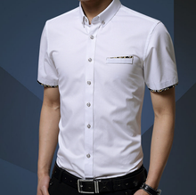 W11554G Mercerized cotton summer new men's short-sleeved cotton shirt Slim Korean men's fashion casual shirt