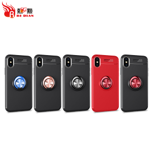 Metal ring with car magnetic TPU mobile phone cases for iphone x case luxury for apple logo