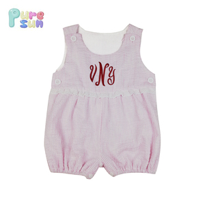 New Design Kid Clothes Seersucker Sleeveless Baby Short Overall Baby girls Summer Romper