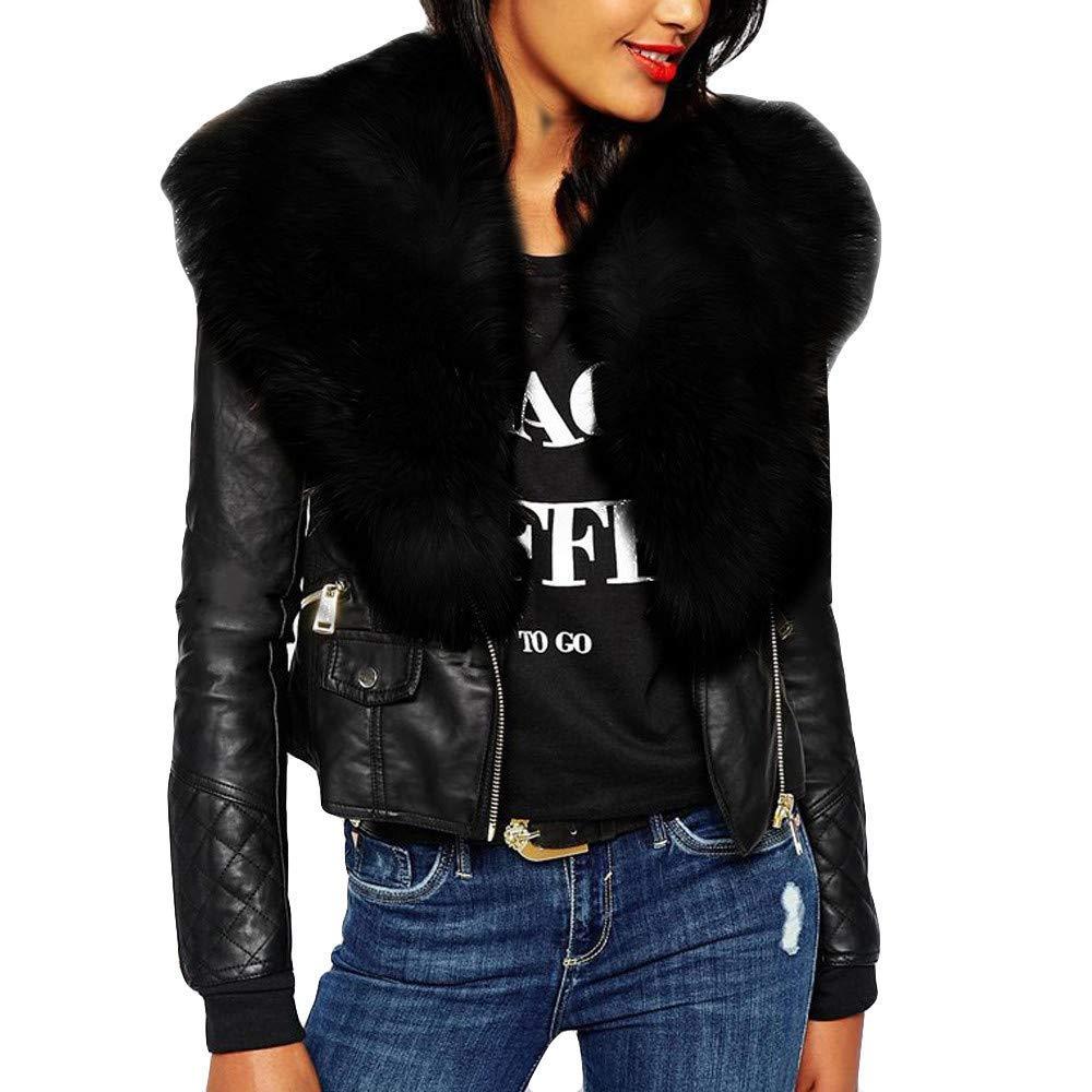 WM & MW Fashion Women Plus Size Jacket Pockets Solid Zipper Fur PU Leather Bomber Jacket Short Coat Outwear