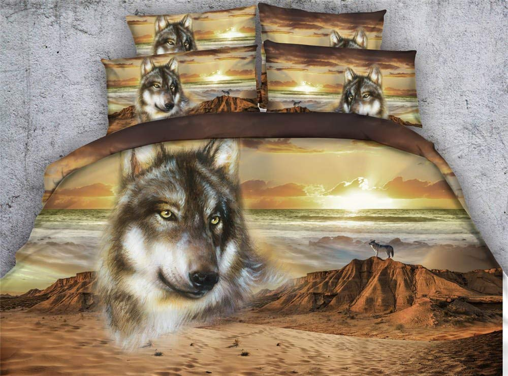 Get Quotations Seiaoing Desert Wolf Duvet Cover Set Twin Full Queen King Cal Size Bedspreads Animal