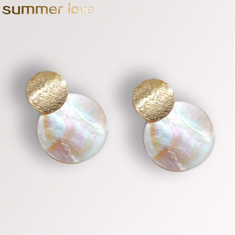 2019 Trend Fashion Wholesale Jewelry Cool Color Shell Drop Round Irregular Geometric Stud Earrings for Women Girls Drop Shipping