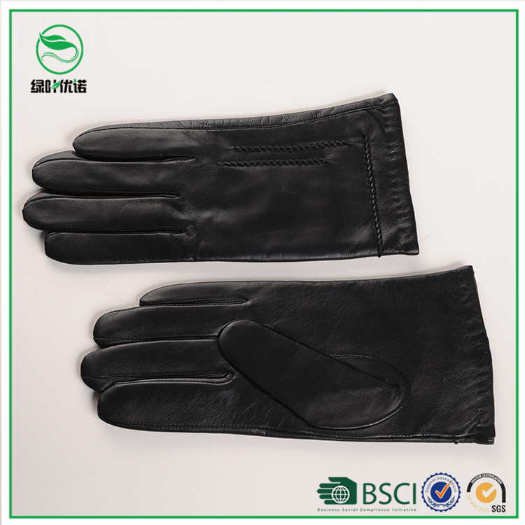 Black gentlemen leather gloves wool linied men lambskin leather gloves