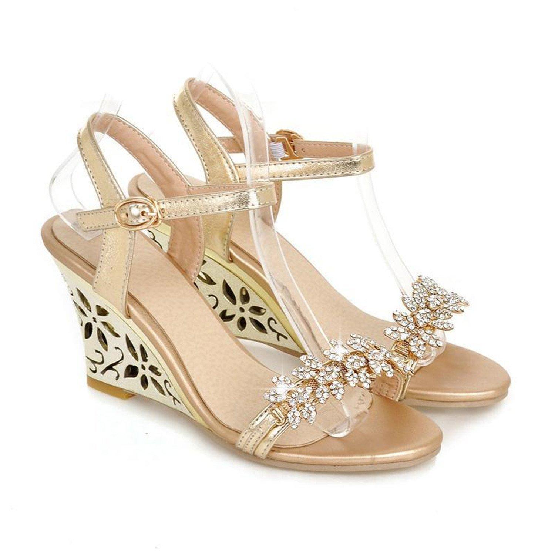 8efef1e12 Get Quotations · Robert Westbrook Fashion Fretwork Heels Wedges Sandals  Rhinestone Silver Gold Summer Sandals Sexy Hot Sale