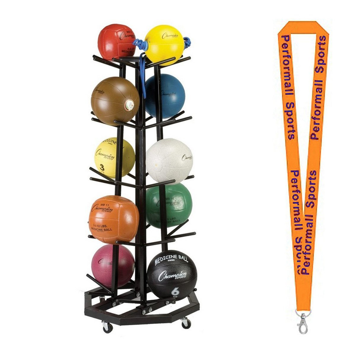 Champion Sports Bundle: Deluxe Medicine Ball Tree Black with 1 Performall Lanyard MBR3 BOX A-1P