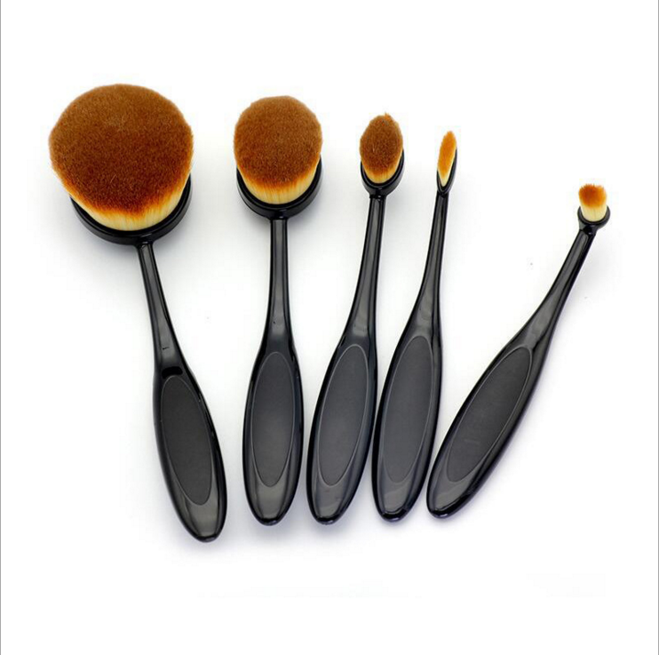 2017 amazon Hot Selling 5pcs plastic handle cosmetic brush oval makeup brush set Kabuki foundation makeup