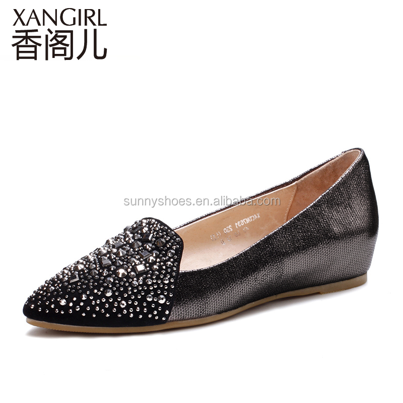 Sexy heel flat ladies hidden height increasing fashion decorated wedge shoes rhinestone pumps HpHrT8qw