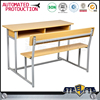 School sets wooden desks /study table bench cheap used double attached adult student desk