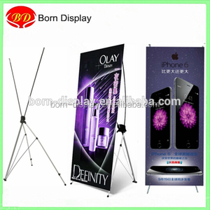 Simple Design Iron Poles Gray Korean Style Flex Banner X Stands with 60*160/80*180CM Size