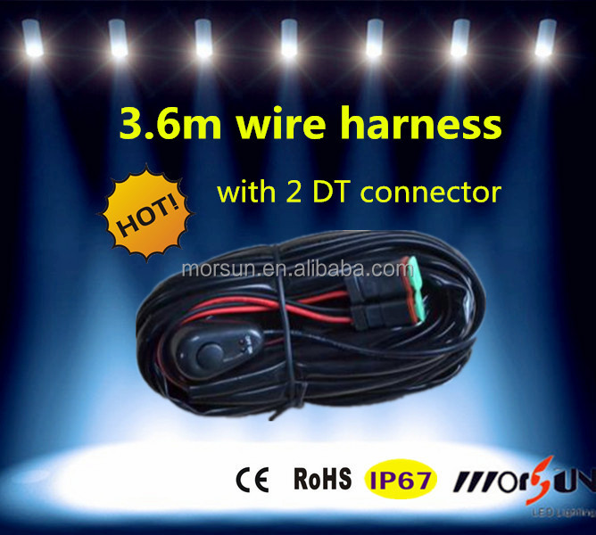 automotive 12v led light bar harness 3 6m wire relay kit 2dt connector