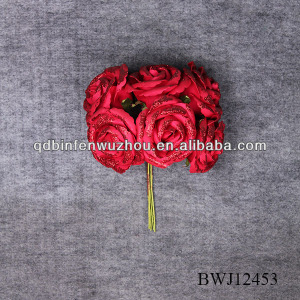 6 heads single stem real touch PU rose flowers