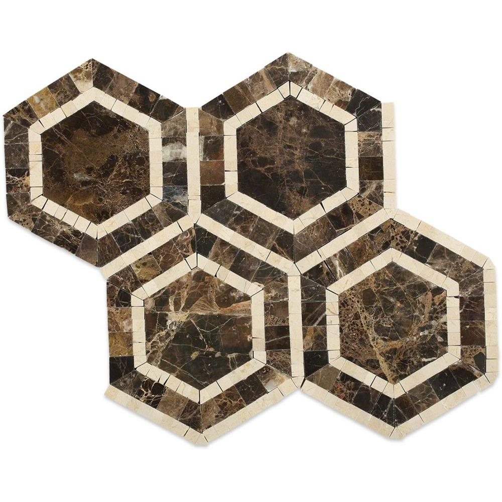 - Decorstone24 Dark Emperador Marble 4 Inch Hexagon Tiles For