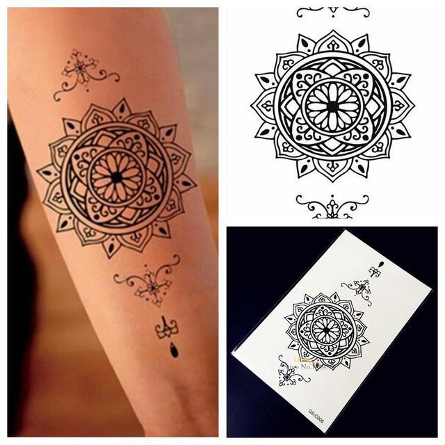 Sunflower Henna Tattoo: Aliexpress.com : Buy 1PC Indian Sunflower Totem Black