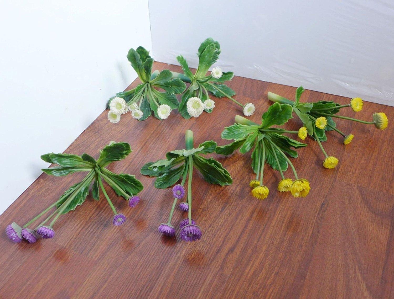 Amazing Sets Of 6Pcs Mini Flowering Artificial Plants Succulents Grass Plastic,  Cream Purple Yellow, Artificial