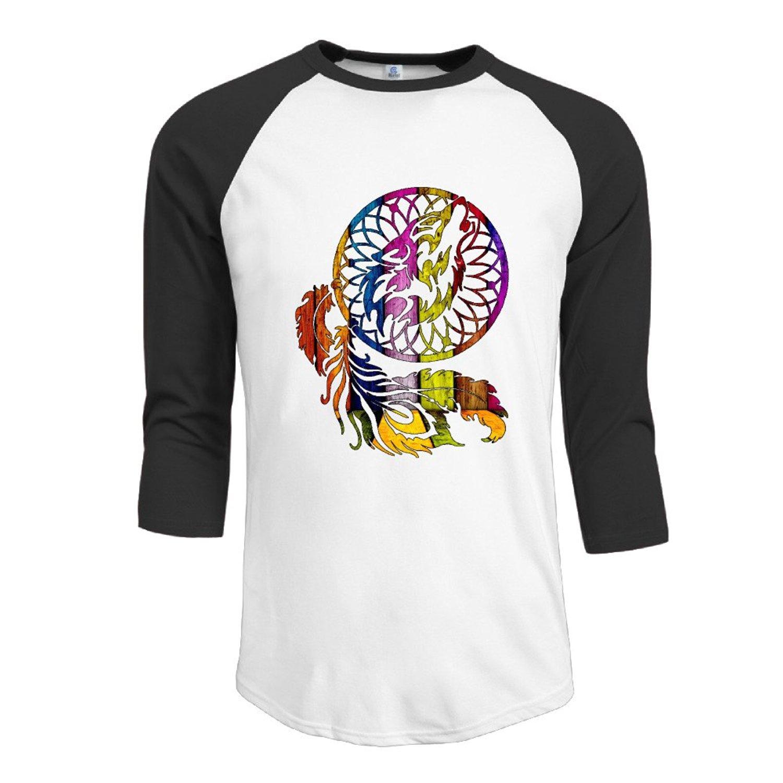52275ca8d8 Get Quotations · Men 3/4 Sleeve Raglan Tee Shirts Wolf Dreamcatcher  Offensive