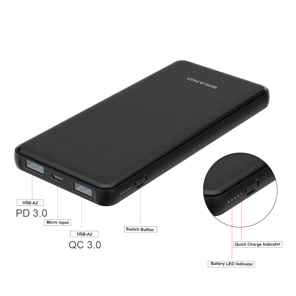 hot selling new quick charge 3.0 18W PD 10000mAh portable power bank