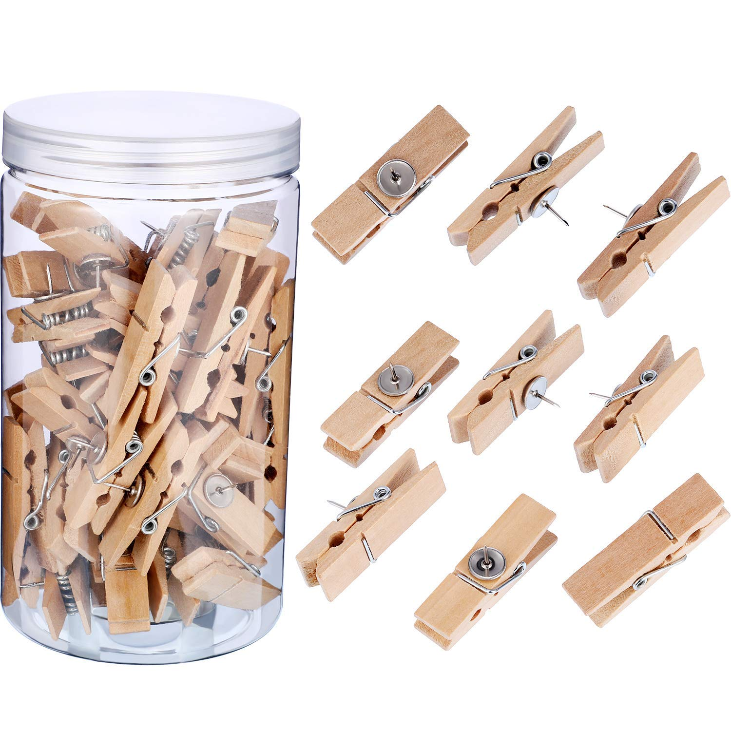 Tatuo 50 Pieces Wooden Clips with Push Pins Multi-Purpose Thumbtacks Pushpins with Clips for Photos Cork Boards Artwork Bulletin Board Supplies