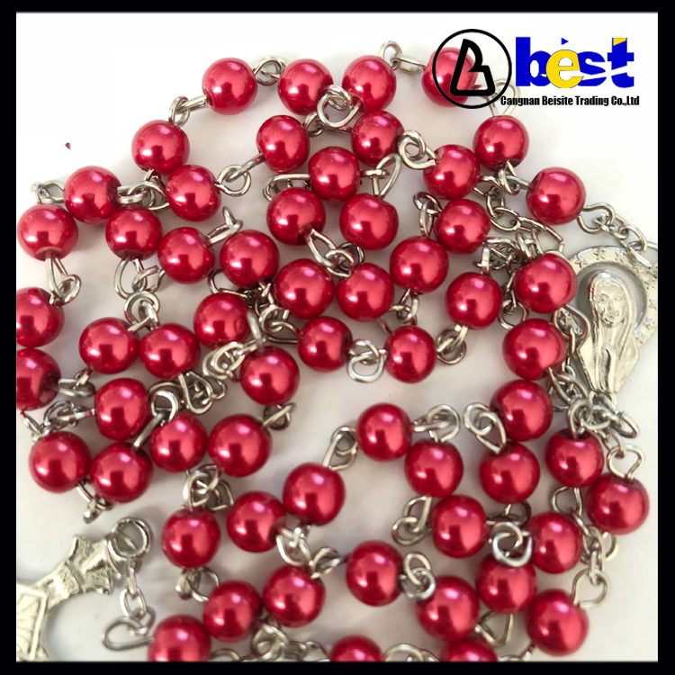 6mm Wholesale Christian Prayer Pearl Rosary With Alloy Pendant
