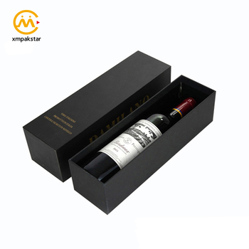 Luxury customizable black paper cardboard drawer gift packaging box for wine bottle