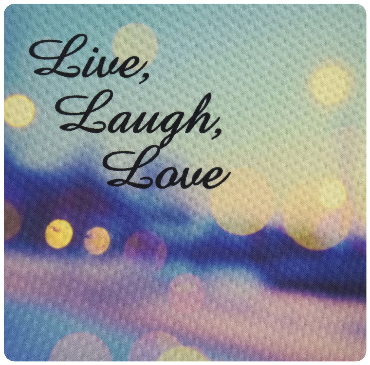 3dRose LLC 8 x 8 x 0.25 Inches Mouse Pad, Live, Laugh, Love Expression, Blue, Purple, Pink, and Gold Lights (mp_164014_1)