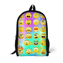 17 Inch Fashion Emoji Print Boys and Girls Bag for School