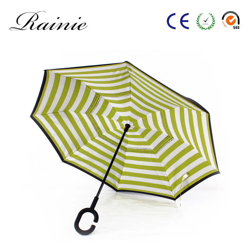 Wholesale Custom windproof C shape handle straight double layer reverse upside down umbrella inverted