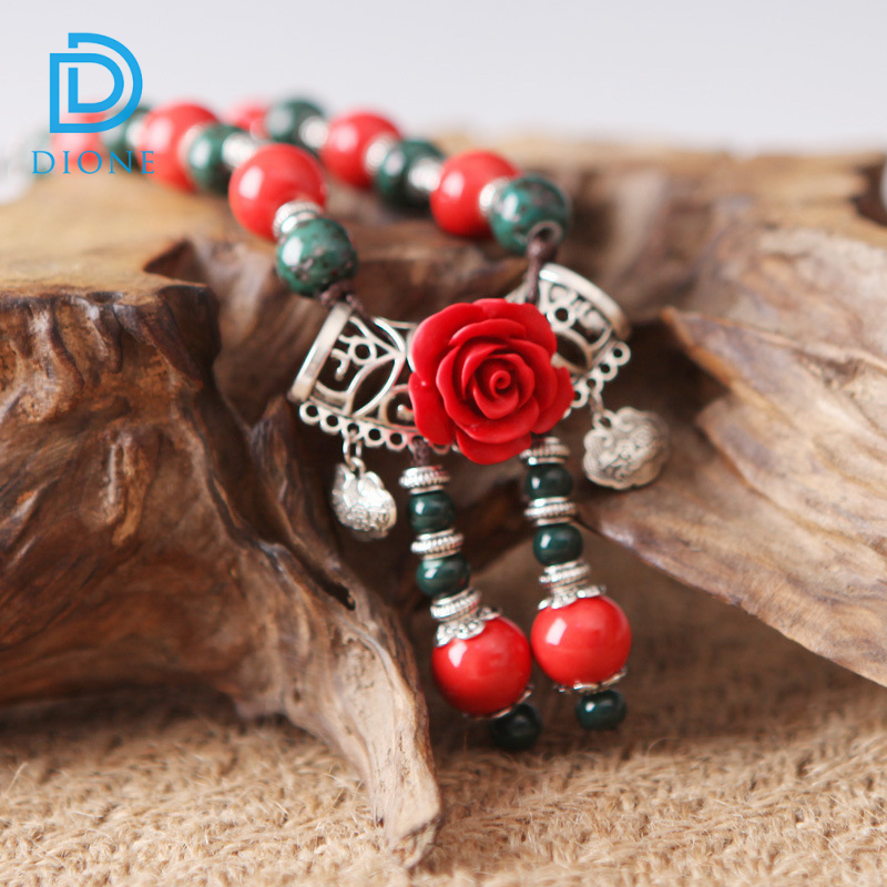 Colorful beads chain handmade porcelain necklace rose flower ceramic necklace pendant