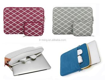 Custom Embroidery Neoprene laptop sleeve bag handle