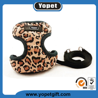 Hot Sale Adjustable Nylon Leopard Comfortable Pet Dog Body Pet Leash Harness And Collar For Puppy Dog Harness