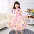 girls dresses summer 2016 new arrival fashion casual Bohemia beach printed chiffon butterfly princess elegant sweet