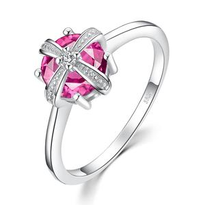 Crown 1.7ct Created Pink Sapphire Cubic Zirconia wedding Ring 925 Sterling Silver JewelryPalace