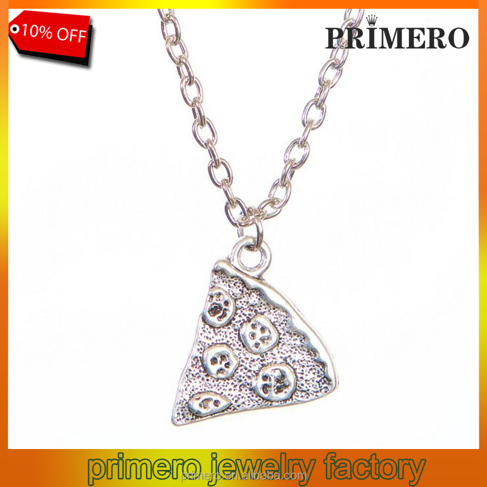 PRIMERO New Hot Vintage Necklaces Ancient Silver Bronze POP Charms Pizza Food Pendant Statement Necklace Sweater Chain