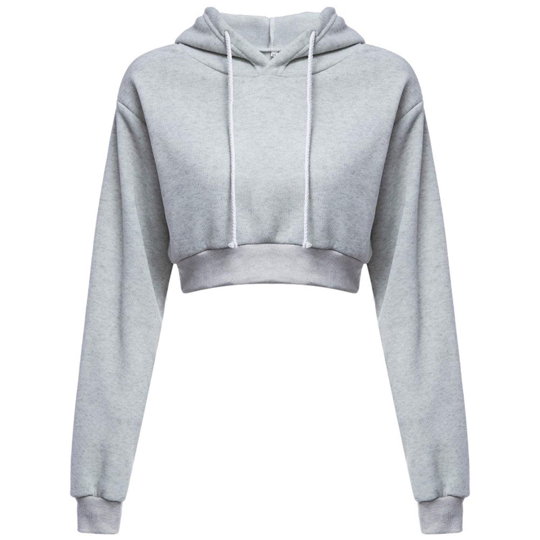 Hengshikeji Womens Casual Long Sleeve Shirts Basic Crop Hoodie Sweatshirts Loose Top Blouses Jumpers Hooded Tunic Pullover