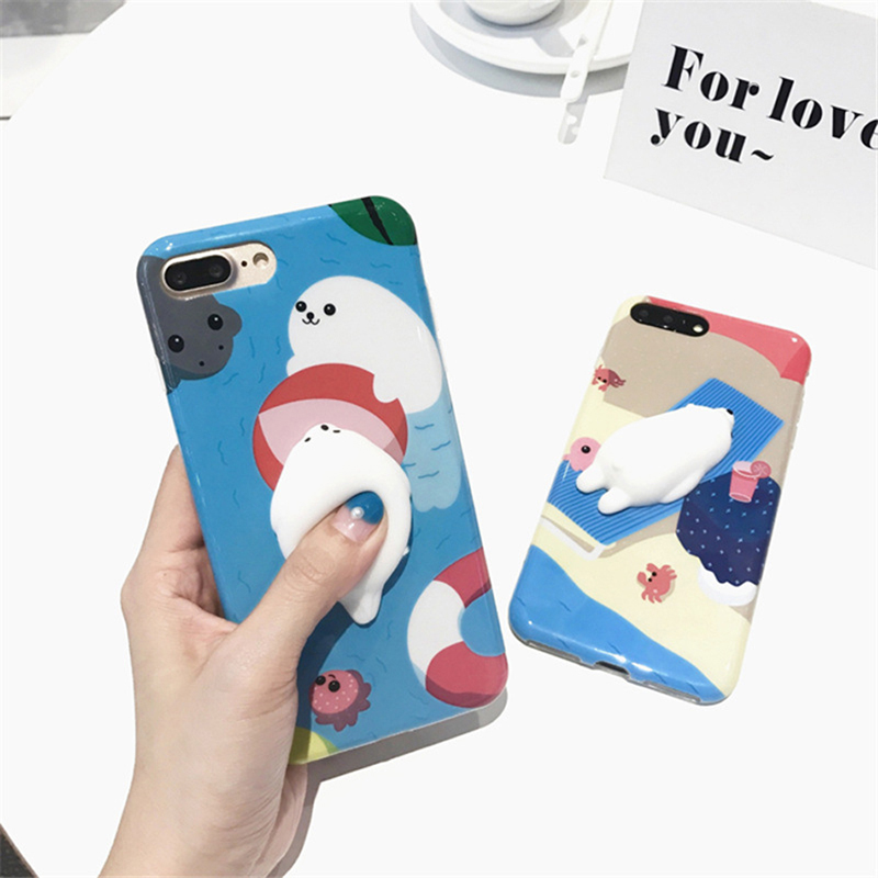 Case For iphone 7 7plus Squishy Kneading Case 3D Soft Silicone Seal cover for iPhone 6 6s Plus 6plus sequeeze toys capa Coque